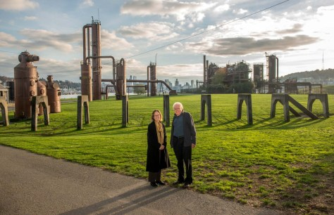 NOW: While the city's distant skyline has risen in the ensuing 45 or so years, the redeemed industrial sculpture of the Gas Works remains in place. The wasteland of polluted puddles and rusted pipes is now a public park.