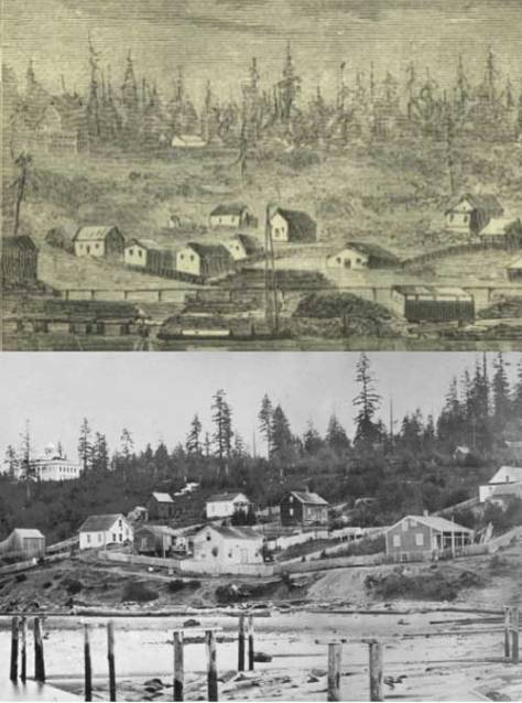 The sketch and the 1869 photograph below are very early records of our central waterfront, and, for our purposes here, of our block on Second Avenue between Columbia and Marion Streets. Here Columbia is on the right and Marion on the left. The waterfront street is Front, the first name for First Avenue.