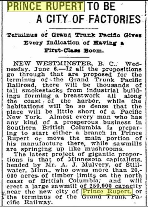 Seattle Times clip from June 6, 1906.
