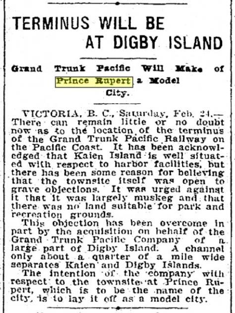 Seattle Times clip from February 25, 1906.