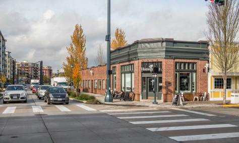 NOW: The bank building survives as part of Redmond's historic core. Homegrown, the present tenant, is an enriched sandwich shop that uses local produce and breads for its savory creations.
