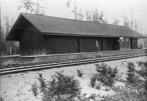 An early look, ca. 1888, at Redmond's lasting railroad depot built for the Seattle Lake Shore and Eastern Railroad.