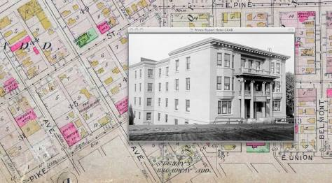 Our week's feature superimposed on a detail from the 1912 Baist real estate map.