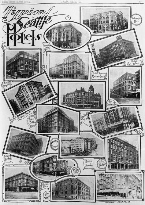 """This Feb. 25, 1906 clip is pulled from a special Seattle Times section illustrating the splendors of Seattle in 1906. It was a remarkable boom town. The """"typical"""" part of this page's title is a bit self-assured. Yet, it is remarkable that all of this and much more had been constructed after the city's Great Fire of 1889. These are the Prince Rupert's downtown competitors, most of them with many more rooms."""