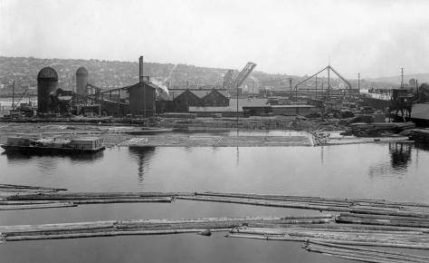 Looking east from the 15th Avenue Ballard Bridge's north approach to the Bolcom-Canal Lumber Company at the southeast corner of Salmon Bay in 1923.