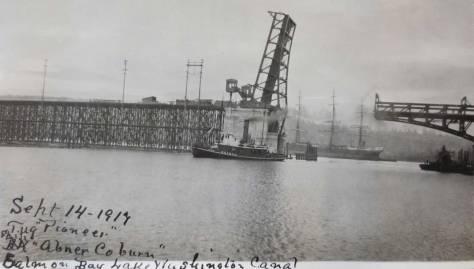 x-profile-01d.-Tug-Pioneer;-ship-Abner-Coburn,-Salmon-Bay-ballard-bridge-9-14-1917-AMES-web