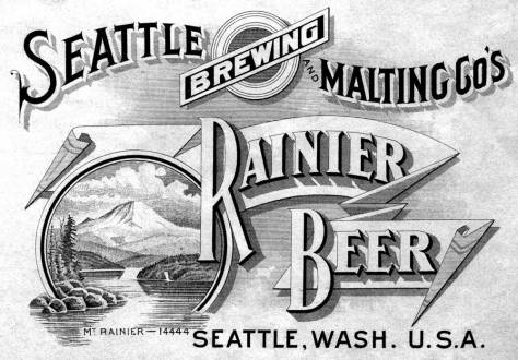A Rainier Beer advertisement with a typical topographical mistake. The Bailey Peninsula (Seward Park) is repeatedly imagined and depicted as an island in its most conventional view from the Mount Baker neighborhood ridge above Lake Washington.