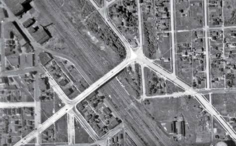 "A detail from the 1936 aerial. The trestle is gone, although its ""scar"" can be detected upper-left. (Courtesy, Seattle Municipal Archive)"