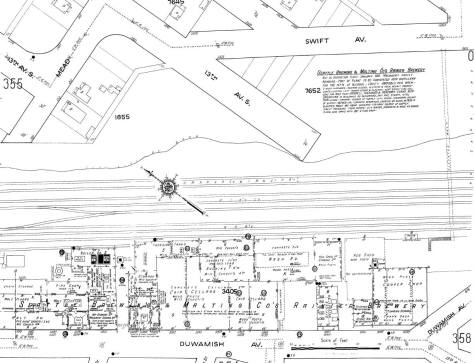 This prohibition-era Sanborn Real Estate map shows the line of the foot bridge on the far right. The text, upper-right, explains that the brewery has been closed since Jan. 1, 1916, which was the start for Washington State's dry years.