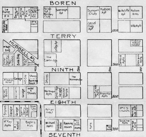 Detail from 1926 map of significant destinations chosen to put the Normandie at the center at the northwest corner of University Street (the street name is out-of-frame) and Ninth Avenue.
