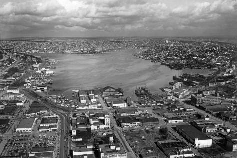 Photography from on high on March 20, 1949, this aerial shows our featured bay on the right and much else. [Courtesy, Ron Edge]