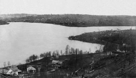 THEN: Samuel McKnight's early 1890s panorama of Lake Union also looks north into most of Seattle's seventeen square-mile annexation of 1891, when the city limits were pushed north from McGraw Street to 85th Street. Fremont, Edgewater, the future Wallingford, Latona, and Brooklyn (University District) were among the neighborhoods included. (Courtesy, Dan Kerlee)