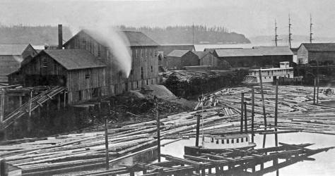 "Most likely another Peterson & Bros shot from their studio window. The mill has been rebuilt and the sheds proliferate. The subject is ""conventionally"" dated 1884, five years before it all be destroyed by the Great Fire` of June 6, 1889."