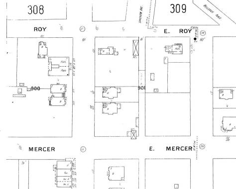 Mercer and Roy are named in thsi 1905 Sanborn detail, and our Gothic twins are still facing Albert/Eastlake, left-of-center, and their block is now joined but two structures to the north. The larger of these is shown on the tax card print two images up.