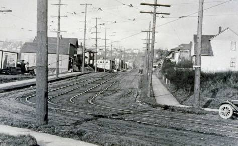 Looking north on First Avenue West from where it meets the extended Western Avenue before Western was continued to the new Elliot Ave. soon after the featured photos was recorded by Lee. (Courtesy, Lawton Gowey, not from his camera but his research and collecting. This is very possibly also a Lee photo, but an earlier one by a decade or so.))