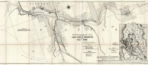 The Army Corps 1891 map of its proposed route for the canal between salt water and fresh. Thru the ensuing quarter-century until its completion many changes were made.