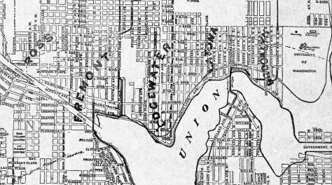 An 1890s mostly imagined development - including Ross, far-right - along the north shore of Lake Union. Latona is long since part of Wallingford. This is true, as well, of Edgewater, although Fremont might claim part of that too. Brooklyn, far-right, was the first name that held, for a time, for the University District.