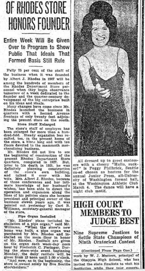 The Rhodes owner honored in The Times for Feb. 28, 1932.