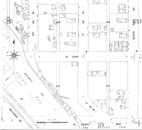 This detail from the 1904 Sanborn real estate map shows the line-up of First Avenue W. and Denny Way and the string of squatters shacks that were ultimately razed for the Elliot Ave. regrade and, if they survived into the 1920s, the continuation of Western to Elliott.