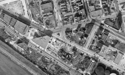 A detail of our corner, and a little more, from the 1929 aerial survey of Seattle. Courtesy, Municipal Archive and Ron Edge.