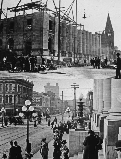 Top - roof construction on the P.O. at about the same ca. 1907 stage shown in Bottom - the P.O. stairs fresh following the regrade.