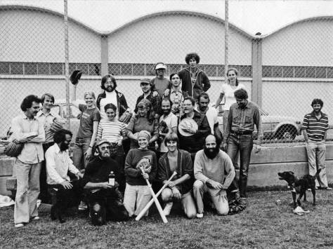 Artist's Sunday Softball at the Cascade Playfield in the late 1970s.