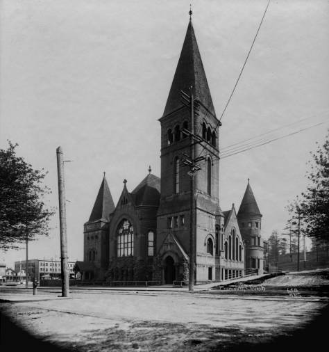 THEN: Plymouth Congregational Church barely reached maturity – twenty-one years – when it was torn down in 1913 for construction of the equally grand but less prayerful Pantages Theatre, also at the northeast corner of Third Avenue and University Street. (Museum of History & Industry)