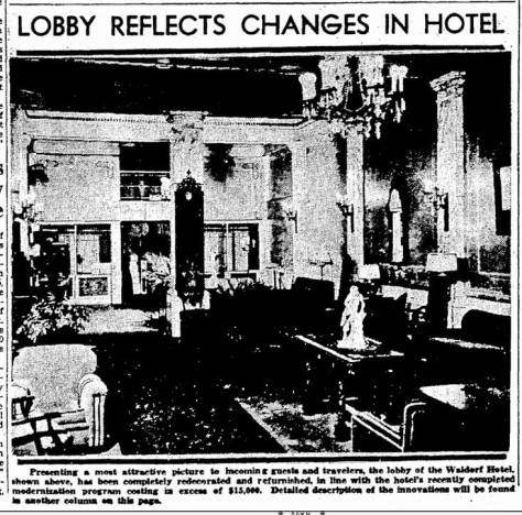 The Waldorf remodeled its lobby in the midst of the Great Depression. This splotchy pulp print was featured in The Times for Nov. 24, 1935.