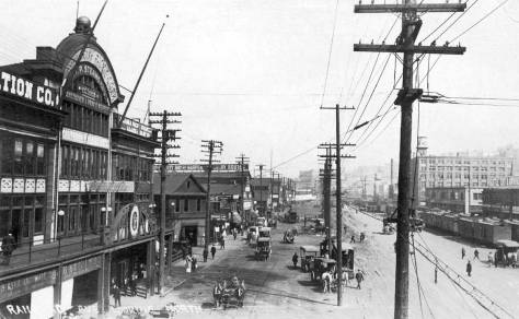 The Grand Trunk Pacific pier, far-left, seen from the Marionj Street Overpass, ca. 1911, the year it was constructed. South of Fire Station No. 3, which is still standing here, the Grand Trunk Dock replaced the irregular assembly of sheds and docks that mark the featured photo north of Colman Dock.