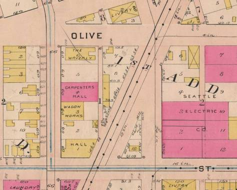 Here is the 1908 Baist Real Estate Map, Westalke Avenue has freshly cut its way through the block and the triangle block bordered by Pine Street, at the bottom, and the new Westlake and 5th Avenue
