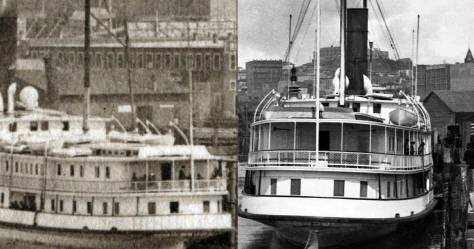 Two looks at the City of Kingston's stern. Compare it to one of the City of Seattle, the stern that follows.