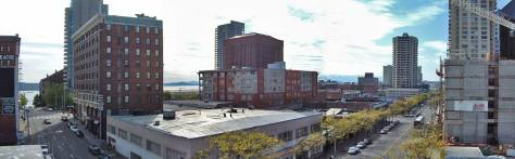 I recorded this in 2003 from the roof of the parking garage at the southeast corner of Virginia and Third Avenue. The view, then, looks northwest with Virginia on the left and Third Ave. on the right.