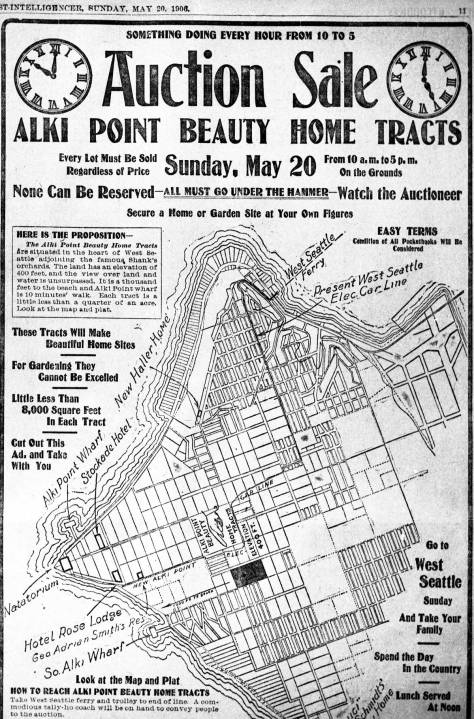 A 1906 Promotion printed in The Times that includes but also oversizes the Alki Natatorium.