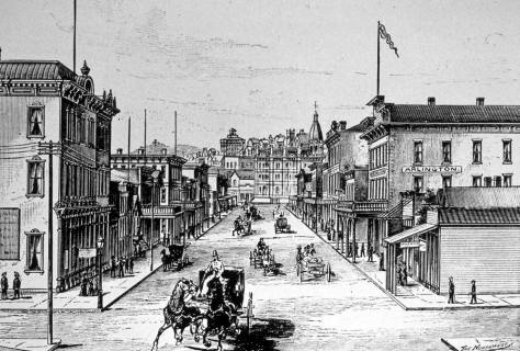An etching of Commercial Street looking north from Jackson Street ca. 1884.