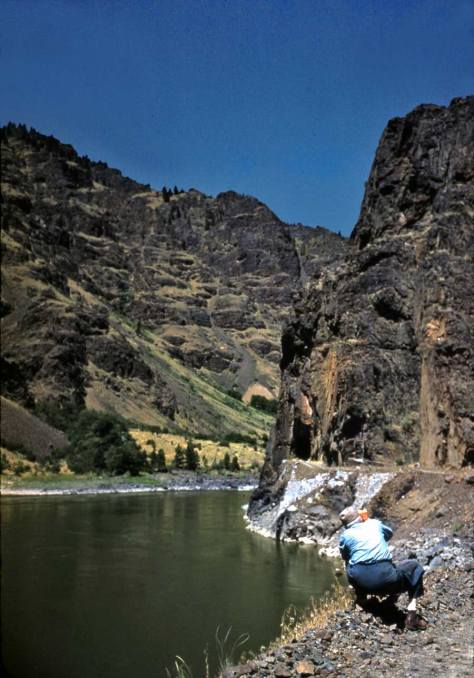 Horace with his camera in a canyon, but more likely the Snake River that the Yakima.