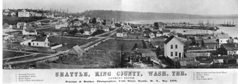 Peterson and Bros pan of Seattle in 1878 from Denny Hill.
