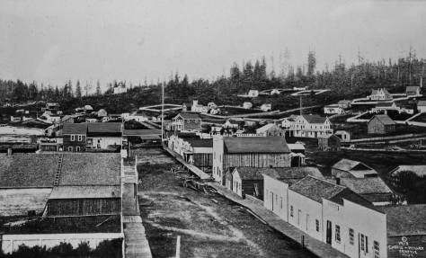 Seattle's first pan photographed by its first professional photographer Sammis. Dates 1865 it is interpreted below by pioneer historian Clarence Bagley.