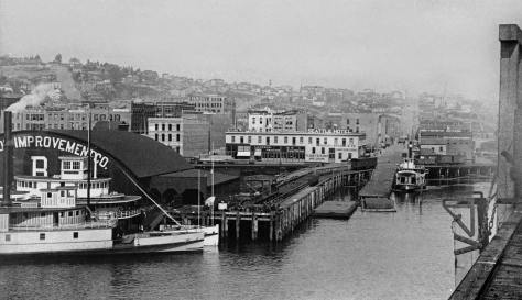 Another of Jackson Street looking east from the King Street Coal Wharf in the early 1890s.