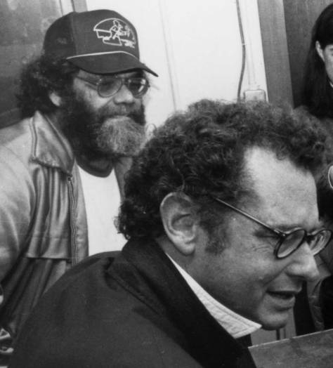 Tiny Freeman over the shoulder of KRAB RADIO founder Lorenzo Milam on the evening of KRAB'S LAST DAY on the air. (There's a good history of KRAB on HISTORYLINK should you want to know the date - and more.)