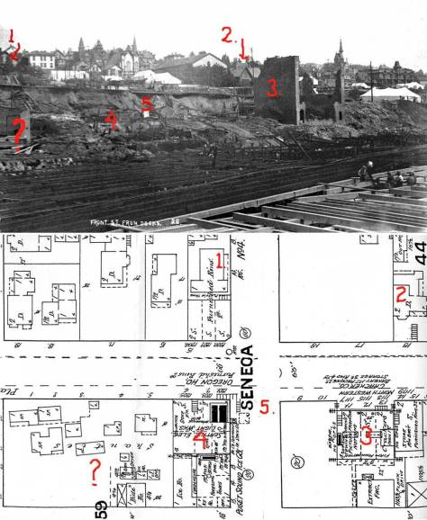The intersection of Seneca and Front Street (no.5) photographed from a waterfront rebuilding after the Great Fire of June 6, 1889. The 1888 map show the fire-destroyed subject including the Cracker factory and the electric generating plant to either side of Seneca and just west of Front/First.