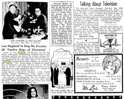 From the Seattle Times for December 22, 1963. [Click it to Read it]