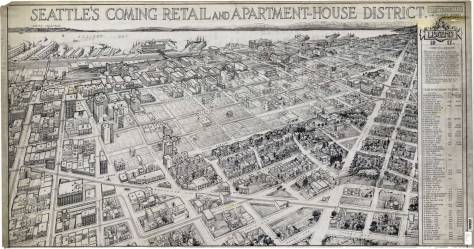 "The ""Old Quarter"" is easily distinguished in this ca. 1917 rendering of the then ""apartment house district."" CLICK to ENLARGE"
