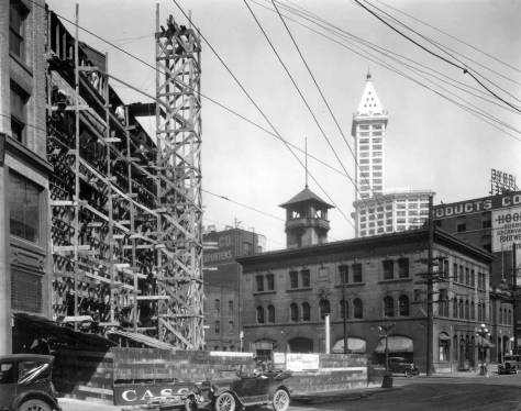 Fire Station at the northwest corner of Third Ave. S. and Main Street briefly before the 1928-29 Second Avenue Extension razed it. The work on the left reveals the new corner cut for the same intersection's southwest corner. (Courtesy, Municipal Archive)