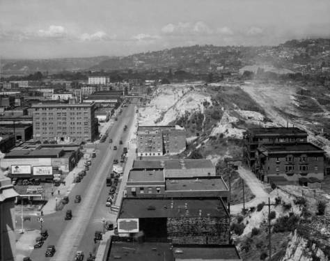 """In preparation for the last of the Denny Regrades the """"Old Quarter"""" east of Fifth Avenue has been mostly cleared away."""