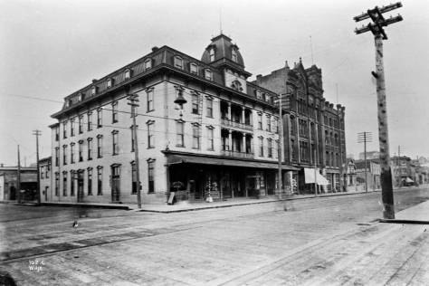 The Bell (aka Bellview) Hotel at the southeast corner of Battery Street and Front Street (First Ave.). The look up Battery street, above, was photographed from its rear. The Austin A. Bell building stands beside it.