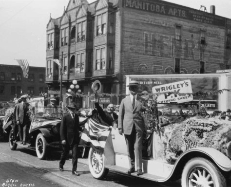 Pres. Warren Harding's parade thru Belltown during his 1924 visit to Seattle. He was not feeling well, and died soon after while continuing his west coast tour in San Francisco.