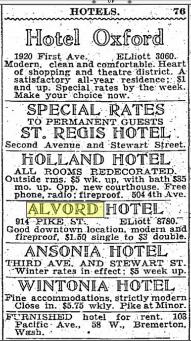 The single and double fees for the Alvord Hotel a few weeks before the economic crash of 1929. And below: a few weeks more than one year following the crash.