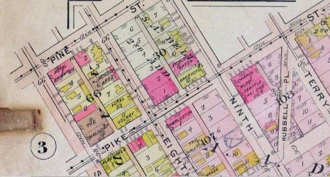 A detail from the 1912 Real Estate Map. Note the two brick structures (including Seattle Taxi) in block 108 on the right.