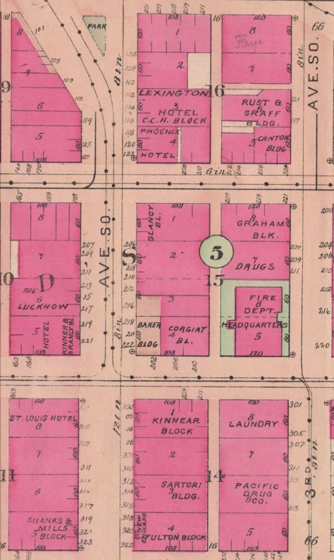 A detail from the 1908 Baist Real Estate Map, still twenty years prior to work on the Second Avenue Extension. Our choice intends to feature at the top the intersection of Washington Street and Second Avenue with the Phoenix Hotel named at its northeast corner. And please not the green marked park at the top.