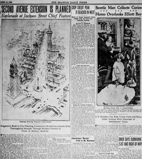 Most likely hard to read but still revealing of the early hopes for the Second Avenue Extension. The Seattle Times clip dates from Oct. 18, 1925. And far right is part of a clip on Ye Old Curiosity Shop founder Pop Standley's curios-congested West Seattle home.